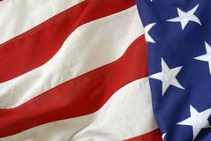 Red, White and Blue. Close-up of stars & stripes of a cloth American flag Stock Photos