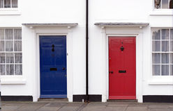 Red, white and blue. Red and blue doors Stock Photo