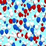 Red white blue air party balloons on sky. Seamless pattern Stock Images