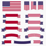Red white blue american flag, ribbons and banners. Set of American USA flag, banners, badges and ribbons patriotic design elements. EPS10 vector illustration stock illustration