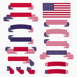 Red white blue american flag, ribbons and banners Stock Photos