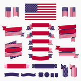 Red white blue american flag, ribbons and banners Royalty Free Stock Images