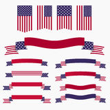 Red white blue american flag, ribbons and banners Stock Image