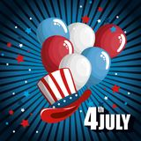 4th of july design. Red, white and blue balloons with american hat over black and blue background. Vector illustration Royalty Free Stock Photo