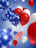 Red, white, and blue balloons background. 3d render Stock Photo