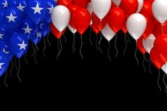 Red, white, and blue balloons background. 3d render Stock Image