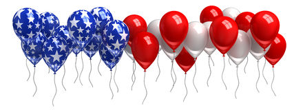 Red, white, and blue balloons. Isolated on white Stock Images