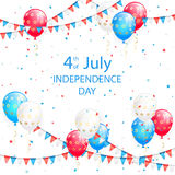 Red white and blue balloons. Pennants and confetti on white background, theme of Independence Day, illustration Royalty Free Stock Images