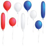 Red, white and blue balloons. A selection of red, white and blue balloons isolated on white Royalty Free Stock Photos
