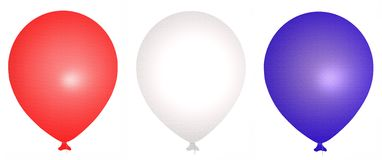 Red White and Blue Balloons. Set of 3 red white and blue balloons with strings and light reflecting off of them Royalty Free Stock Images