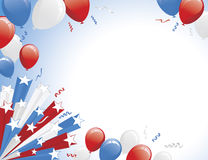 Red White Blue Balloons and Star Burst Royalty Free Stock Images