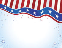 Red white blue banner with stars Stock Photo