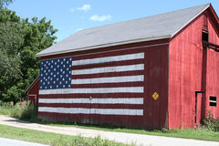Red, White & Blue Barn. Barn with the American Flag painted on the side Stock Photo