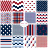 Red, White & Blue Seamless Patterns, Stars & Stripes Royalty Free Stock Photos