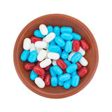 Red white and blue breath mints in a bowl Royalty Free Stock Photography
