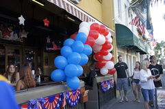 Red White and Blue. A bunch of balloons colors red white and blue were displayed at the entrance of the restaurants in the celebration of July 4th Royalty Free Stock Photography