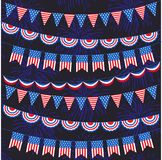 Red white blue bunting and fireworks pattern. Red white blue bunting and fireworks background pattern Stock Image