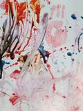Red, white, and blue child art with hand print Royalty Free Stock Photo