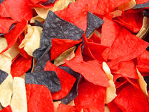 Red White and Blue Chips. Red, white and blue tortilla chips.  Quite patriotic for a snack Stock Photo