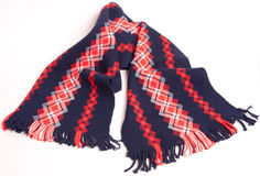Red, White & Blue colored wool scarf Royalty Free Stock Image
