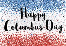Happy Columbus Day Illustration. Blue, White and Red Confetti Backgound vector illustration