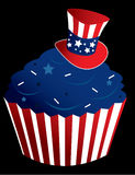 Red white and blue cupcake. American themed cupcake in a striped wrapper with sprinkles vector illustration
