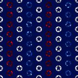 Red, White, and Blue Cutout Stars Seamless Pattern stock illustration