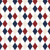 Red, White Blue diamond seamless repeating pattern. Stock Images