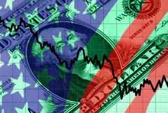 Red, White, and Blue Financial Symbols Stock Image