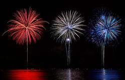 Red, White, & Blue Fireworks royalty free stock images