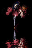 Red, white and blue fireworks Stock Images