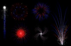 Red white and blue fireworks. Series of six isolated  red white and blue vector fireworks Royalty Free Stock Photography