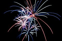 Red White and Blue Fireworks. Aerial Fireworks Exploding with Red White and Blue Colors Royalty Free Stock Photography