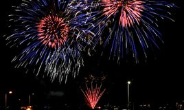 Fireworks display in Chicago stock images
