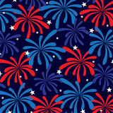 Red white blue fireworks and stars Royalty Free Stock Photo