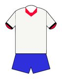 Red white and blue football kit Royalty Free Stock Photo