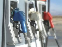 Red, white, and blue gas pumps Stock Photography