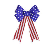 Red, White and Blue Glitter Bunting Bow Isolated Royalty Free Stock Photo
