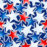 Red white and blue glowing stars seamless pattern Royalty Free Stock Image