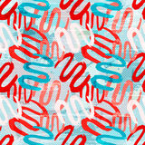 Red white blue graffiti lines on a white background seamless pattern Royalty Free Stock Photos