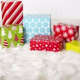 Red, White, Blue and Green Christmas presents royalty free stock images