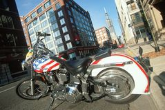 A red white and blue Harley Davidson motorcycle in Chicago, Illinois Royalty Free Stock Images