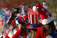 Red, White and Blue Hats. Girls wearing Red, White and Blue Hats stock photo