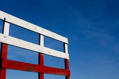 Red, White and Blue Hayride fence Stock Photo