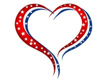 Heart. Red, white and blue heart with white stars stock illustration