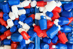 Red White and Blue Holy Water Bottles, Tinos, Greece Stock Images