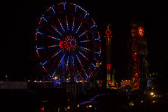 Red, White and Blue July 4th Festival Ferris Wheel at Night Stock Photos