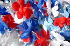 Red, White & Blue Leis. Red, white and blue tropical leis Royalty Free Stock Image