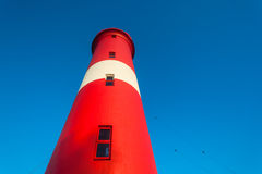 Red White Blue Lighthouse Stock Photo