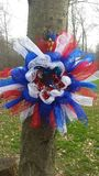 Red White and blue mesh wreath Royalty Free Stock Images